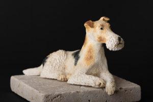 """Fox terrier à poil dur """"waiting for master"""" - Pièces de Nadine JANIN"""