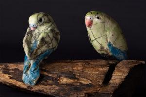 Couple de perruches inséparables - Pièces de Nadine JANIN